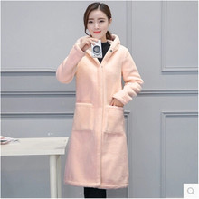 Lambs wool Fur coat Female Parka Latest Fashion Hooded Autumn and winter Coat Cheap clothes china Lambs wool coat BN1636(China)