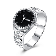 2017 Hot Sale Silver Plated Wedding Watch Ring Casual Men and Women Jewelry personalized rings jewelry Accessory