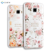 Super 3D Relief Printing Clear Soft TPU Case For Samsung Galaxy C7 Phone Back Cover Ultra-thin Shell Free Ring Holder Film