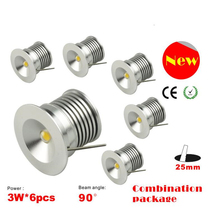 LED downlight Bridgelux chip IP64 isolation driver dimmable LED cabinet light 3W Mini lamp 25mm 6pcs/set new design