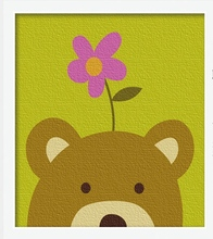 FUNIQUE Cartoon Bear Modular Oil Painting By Numbers DIY Kids Puzzle Oil Painting Canvas Wall Picture 2017 New Fashion 20x20cm(China)