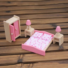 Pink Girl's Style Wooden Doll Dinning /Bath/Bedroom House Furniture Toys Dollhouse Miniature For Kids Play Toy