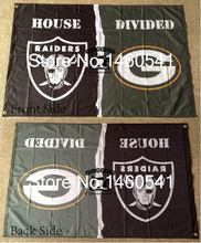 Oakland Raiders Green Bay Packers House Divided Flag 3ft x 5ft Polyester NFL Banner Size No.4 144*96cm QingQing Flag