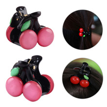 1pc 2017 New Fshion Mini Cherry Hairclaw Beauty Korean Style Nice Children Gift Women Hairclip Gripper color random delivery(China)