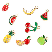 2pcs/lot Oil Drop Zinc Alloy Colourful Fruit Charm Pendants   Floating Enamel Fashion Jewelry Accessories