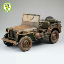 1:18 1/4 Ton US ARMY WILLYS JEEP TOP DOWN Diecast Car Model Toys Welly Brown