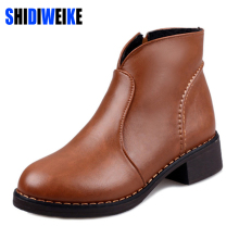 SHIDIWEIKE 2017 New Fashion Women Boots Motorcycle Bota Autumn Winter Boots Leather Women Shoes Martin Boots PU B087