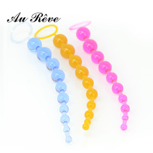 AuReve Pretty High Quality Anal Beads For Anal Games Sex Novelties Jelly Anal Plug Chain Sex Toys For Woman Couple Free Shipping(China)