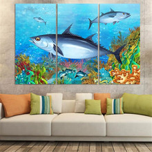 3panel /set New ocean fish Paintings for children's bed room oil painting Home Decor undersea world no frame wall picture(China)
