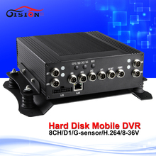 H.264 car video recorder 8 Channel hard disk mobile dvr g-senor Cyclic Recording automobiles 8ch dvr blackbox free shipping(China)