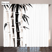 Sheer White Curtains Living Room Bedroom Bamboo Traditional Chinese Watercolor Asian Art Black Cream 2 Panels Set 145*265 sm