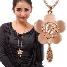 1pc Charming Alloy Crystal Opal Rose Pendant Long Necklace Sweater Chain Fine Jewelry Gift NL-0517-GD