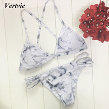 2017 New Vertvie Women Sexy Bikinis Set Double Marble Pattern Wire Free Bikinis Set Female Clothes Fitted Summer Beach Swimming