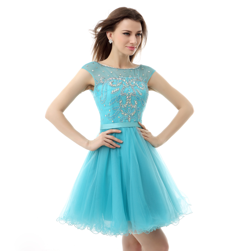 Real Photos Prom Dress Short Turquoise Rhinestone Backless Sexy 8th Graduation Dresses Party Formal Women Gown 2019