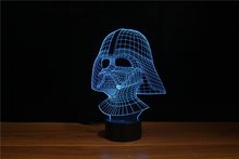 Free Shipping Famous Fantasy Movie Role Souvenir 3D Led Nite Lite Darth Vader Shape with FCC/RoHS Certificate YJM-3066(China)