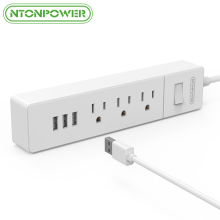 NTONPOWER Desktop USB Power Strip Surge Protection US Plug Mini Size and Portable 3 AC Outlet 3 Charging Port -5 Foot Power Cord