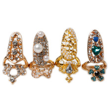 Hot Sale Charminng Bowknot Crown Crystal Finger Nail Art Ring Fake Protection Jewelry Drop Shipping