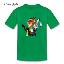 Nick and Judy Zootopia Children T Shirt Baby Boy Girl Pure Cotton 2017 New t-shirt Kids Summer Quality Clothing For Sale