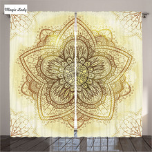 Modern Curtains Yellow Living Room Bedroom Ethnic Doodle Design Asian Traditional Pattern Gold White 2 Panels Set 145*265 sm