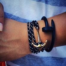 New Charming Fashion Style Jewelry Pirate Leather Cord Bracelet Navy Anchor Braided Bracelet Free Shipping