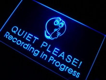 m096 Recording in Progress Quiet Please LED Neon Sign On/Off Swtich 7 Colors