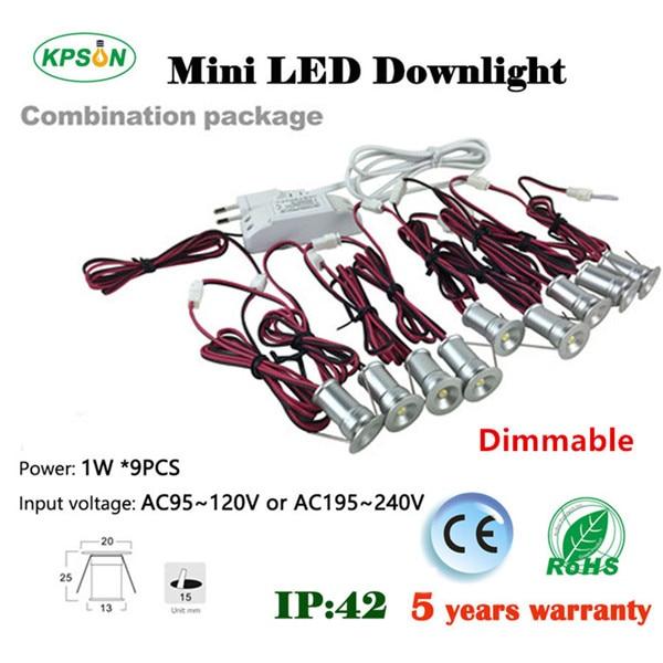 1W*9pcs/set Mini 1W LED Spotlights Indoor Corridor Stair Lighting Lamp AC85-277VDim 120D LED Down Light 15mm Cut wholesale<br>