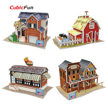 Cubic Fun 3D Puzzle Toy, America Feature Jigsaw Puzzle World Styles Model DIY House Puzzle, Toys For Children Collectible Puzzle(China)