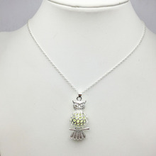 Fashionable Fluorescent Silver Plated Owl  Necklace Animal Fish Luminous Stone Pendant Necklace for Women Jewelry Gift