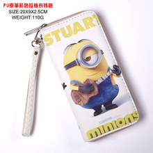 Long Style Cool PU Wallet Minions Fashion Purse with Zipper(China)
