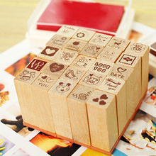 25Pcs Love Diary Decorated Wood Stamps Set Stampers School Supplies Stationery(China)