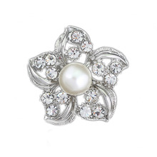 Fashion Accessories Graceful Flower Shape Rhinestone Brooch Dress Decoration Silver Collar Pin Gift YBRH-0249