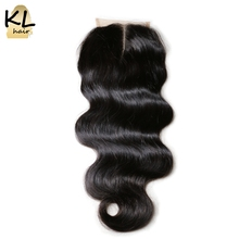 KL Hair Middle Part Body Wave Lace Closure Human Hair Natural Color Brazilian Remy Hair Closure Bleached Knots With Baby Hair