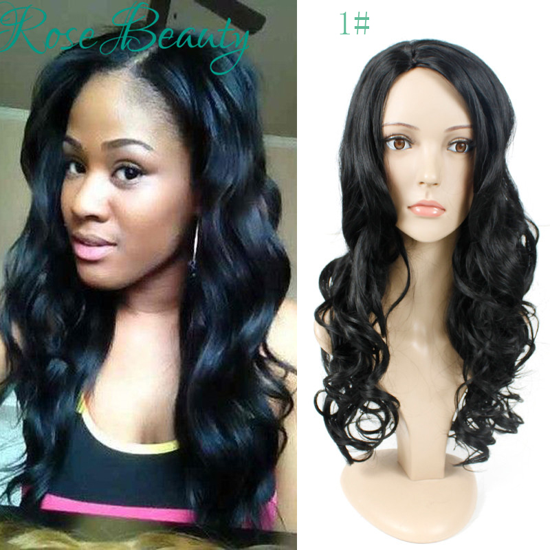 Long Body Wave Natural hair Black Synthetic Afro Wig side part Thick Full Head Heat Resistant Synthetic Wigs free gift+hair net<br><br>Aliexpress