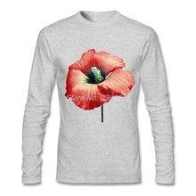 2017 Fashion Print Mens T shirt Long Sleeve Flower Perfume Customized t shirt Organic Cotton Cheap Price Adult T-Shirt(China)