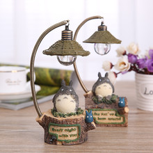Anime My Neighbor Totoro LED Light Action Figure Toy 18cm Resin Ghibli Miyazaki Totoro Table Lamp Figures Kids Toys / Brinquedos