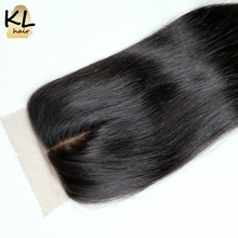 KL Hair Middle Part Silk Base Closure Straight Human Hair Brazilian Remy Hair Silk Lace Closure Bleached Knots With Baby Hair(China)