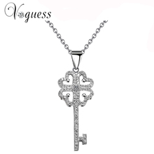 VOGUESS Hot Sell Heart Key Necklaces & Pendants Elegant AAA Cz Stone Floating Charm Wedding Necklace Women Jewelry with Free Box