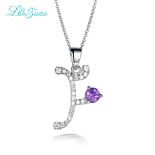 L&Zuan Charm Trendy Letter Chic Necklace 925 Sterling Silver Jewelry 0.87ct Gemstone Pendant Necklace elegant fine jewelry 0300(China)