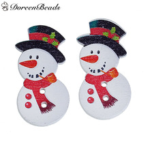 "DoreenBeads Wood Buttons 2 Holes White Christmas Snowman With Black Hat & Red Scarf 3.6cm x1.8cm(1 3/8"" x 6/8"") 30 PCs(China)"