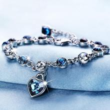 LYIYUNQ Fashion Bracelet Hot Wedding Female Heart Crystal Bracelets For Women Luxury Temperament Silver-Color Fine Jewelry Gift