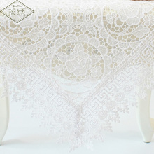 60 90 120 180cm Square Rectangular Floral White Pure Lace Fabric Embroidered Tablecloth Table Cover(China)