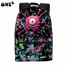 2016 ONE2 Design big eye monster pattern nylon custom school bag best popular backpack brands name for kids school backpack(China)