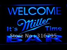 672 BAR Welcome Miller Time Beer LED Neon Light Sign Wholesale Dropshipping On/ Off Switch 7 colors DHL