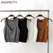 Anspretty Apparel Summer Women Deep V Neck Sexy Crop Tank Top Knitted Fabric Short Vest Four Colors Female Clothing