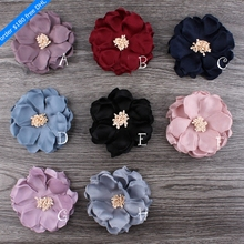 120pcs/lot 8cm 8colors Hair Clips Korean Cloth Felt Flower For Kids Girls Hair Accessories Handmade Fabric Flowers For Headbands(China)