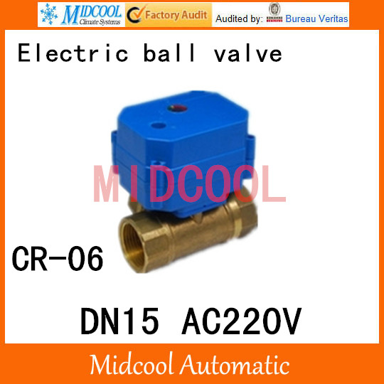 Brass Motorized Ball Valve 1/2 DN15 Water control Angle valve AC220V electrical ball (two-way) valve wires CR-06<br><br>Aliexpress
