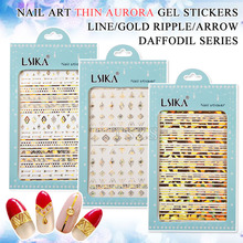 1 sheet/lot Thin line gold ripple Geometric daffodils serious nail art stickers