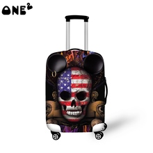 2016 ONE2 Design flag skull pattern printing  cover apply to 22,24,26 inch suitcase elastic protective case luggage cover