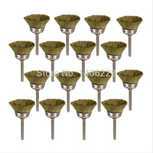 RT- 446B; 16 Pack Brass Wire Cup Brush Fits Dremel Rotary Tool Accessory Finish