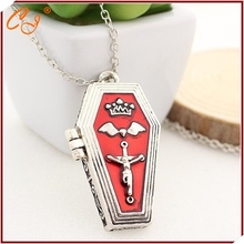 Europe and the United States punk wind gothic ornaments Crown coffin wings cross necklace